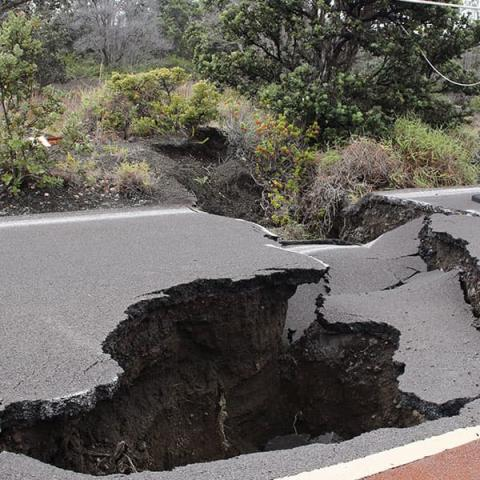 road destroyed by earthquake